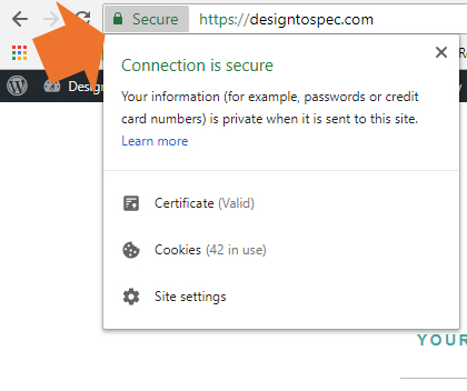 Example of secure website in Chrome